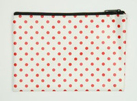 Dot white-red mix cosmetic bag