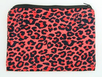 Leopard red mix cosmetic bag