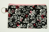 Rose leave black-pink mix cosmetic bag