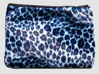 Leopard blue fluffy cosmetic bag