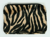 Zebra brown fluffy cosmetic bag