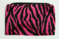 Zebra pink fluffy cosmetic bag