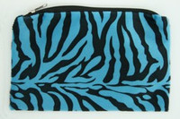 Zebra blue fluffy cosmetic bag