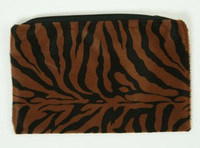 Zebra D-brown fluffy cosmetic bag