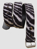 Zebra black-white belt fluffy belt