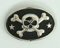 Oval skull bone star medium buckle
