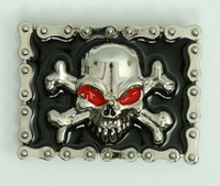 Skull chain red eye medium buckle