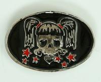 Oval cute skull stars medium buckle