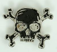Skull bone black-silver medium buckle