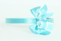 Lace blue medium bow