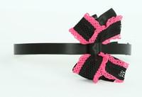 Lace black / black-pink medium bow