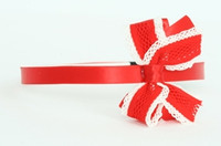 Lace red / red-white medium bow
