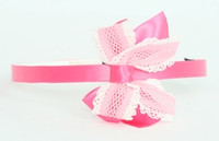 Lace D pink / L pink-white medium bow