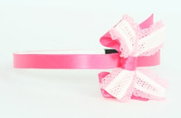Lace D pink / white-L pink medium bow