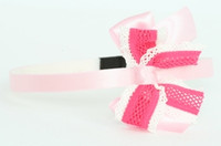 Lace L pink / D pink-white medium bow
