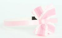 Lace L pink / L pink-white medium bow