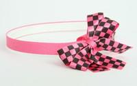 Check pink / black-pink medium bow