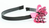 Check black / black-pink medium bow