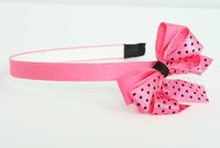 Dot pink-black medium bow