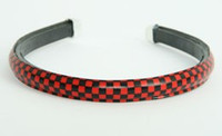Metal check black-red medium tiara
