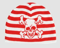 Skull H red-white skull beanie