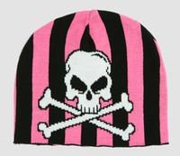 Skull V black-pink skull beanie