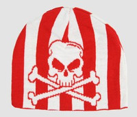 Skull V red-white skull beanie