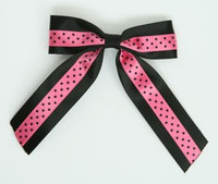 Dot black / pink-black dot hair clips piece