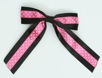 Dot black / pink-white dot hair clips piece