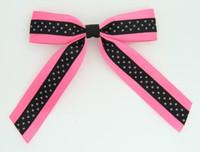 Dot pink / black-pink dot hair clips piece