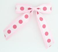 Dot big L pink / white-D pink dot hair clips piece