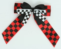Check black-red / white double hair clips piece