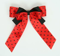 Dot red-black double hair clips piece