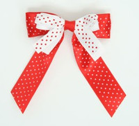 Dot red-white / white-red double hair clips piece