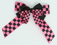 Check black-pink double hair clips piece