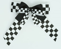 Check black-white double hair clips piece