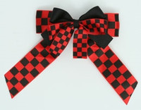 Check black-red double hair clips piece
