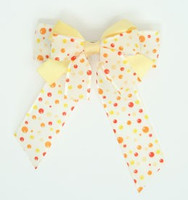 Dot retro yellow double hair clips piece