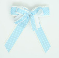 Dot thin blue double hair clips piece