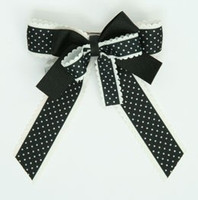 Dot thin black double hair clips piece