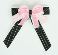 Dot Thin black-L pink double hair clips piece