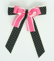 Dot thin black-D pink double hair clips piece