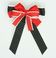 Thin black-red double hair clips piece