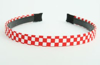 Cotton check red-white small tiara