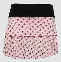 Skull L pink-black cute & dangerous mini skirt