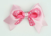 Heart L pink / D pink-white heart cute clean