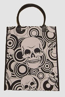 Squared skull black-white hand bag Bag