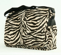 Zebra brown LH large fluffy bag