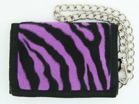 Zebra purple fluffy with chain wallet