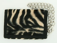 Zebra black-brown fluffy with chain wallet
